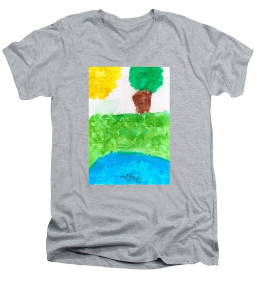 Men's V-Neck T-Shirt featuring the painting El Paisaje by Artists With Autism Inc