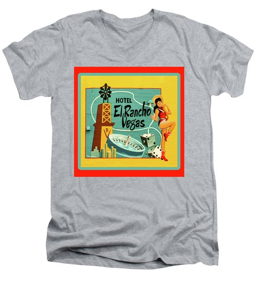 Men's V-Neck T-Shirt featuring the photograph El Rancho by Jeff Burgess