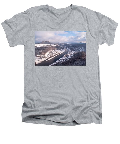 Men's V-Neck T-Shirt featuring the photograph Elbe Valley With Mountain Pfaffenstein by Jenny Rainbow