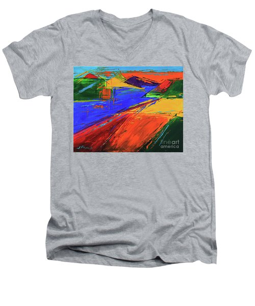 Electric Color Men's V-Neck T-Shirt by Jeanette French
