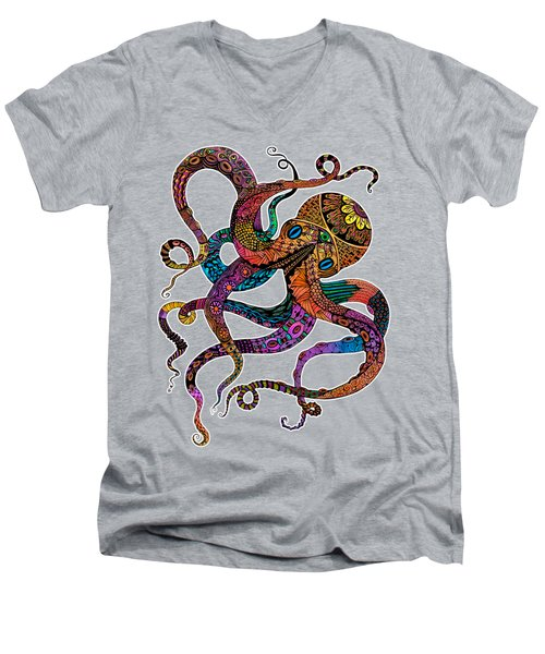 Electric Octopus Men's V-Neck T-Shirt by Tammy Wetzel