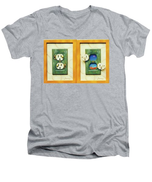 Electric View Miniature Shown Closed And Open Men's V-Neck T-Shirt