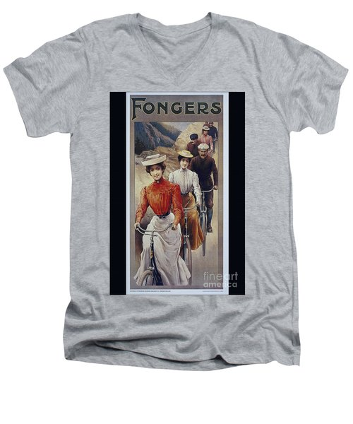 Elegant Fongers Vintage Stylish Cycle Poster Men's V-Neck T-Shirt by R Muirhead Art