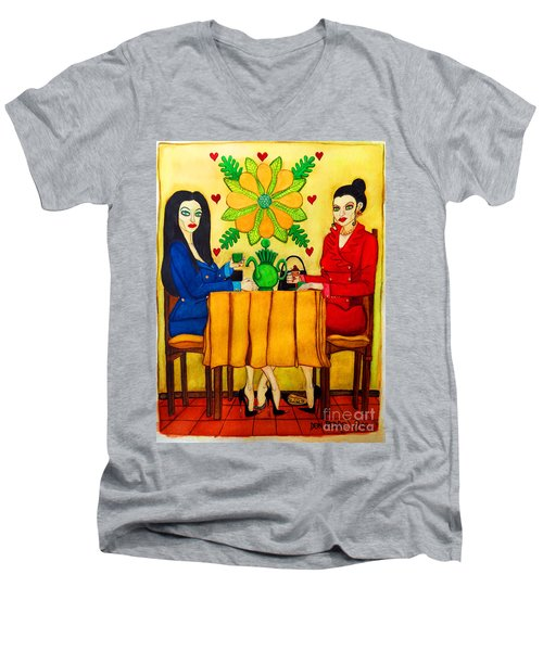Men's V-Neck T-Shirt featuring the painting Elegant Ladies In A Coffee-shop by Don Pedro De Gracia