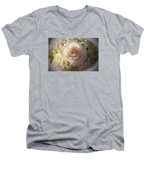 Elegant White Roses Men's V-Neck T-Shirt by Cynthia Guinn