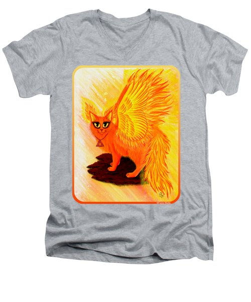 Elemental Fire Fairy Cat Men's V-Neck T-Shirt by Carrie Hawks