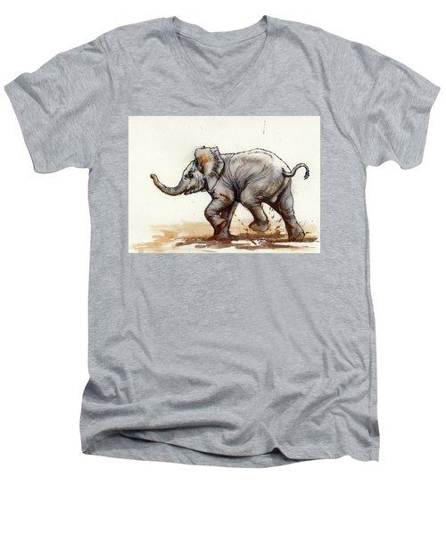 Elephant Baby At Play Men's V-Neck T-Shirt by Margaret Stockdale