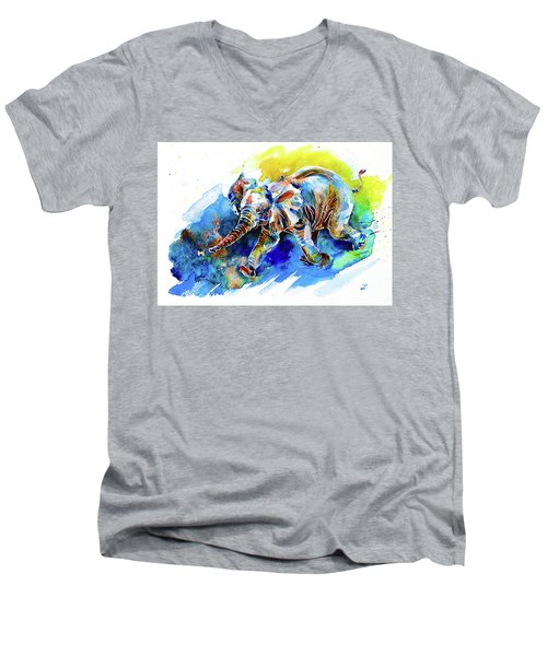 Men's V-Neck T-Shirt featuring the painting Elephant Calf Playing With Butterfly by Zaira Dzhaubaeva