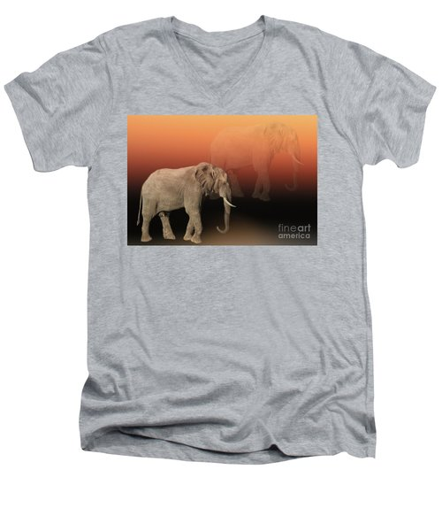 Men's V-Neck T-Shirt featuring the photograph Elephant Dreams by Myrna Bradshaw