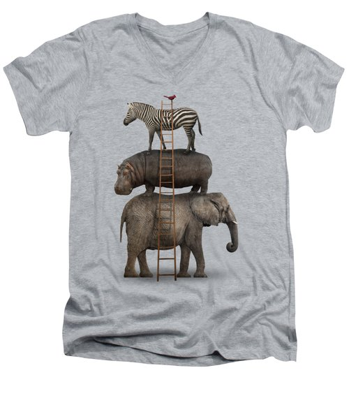 Elephant, Hippo, Zebra Animal Stack With A Cardinal Men's V-Neck T-Shirt by Greg Noblin