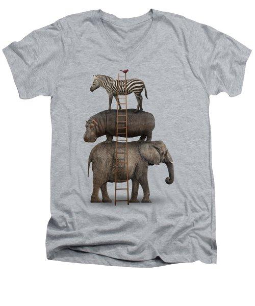 Elephant, Hippo, Zebra Animal Stack With A Cardinal Men's V-Neck T-Shirt