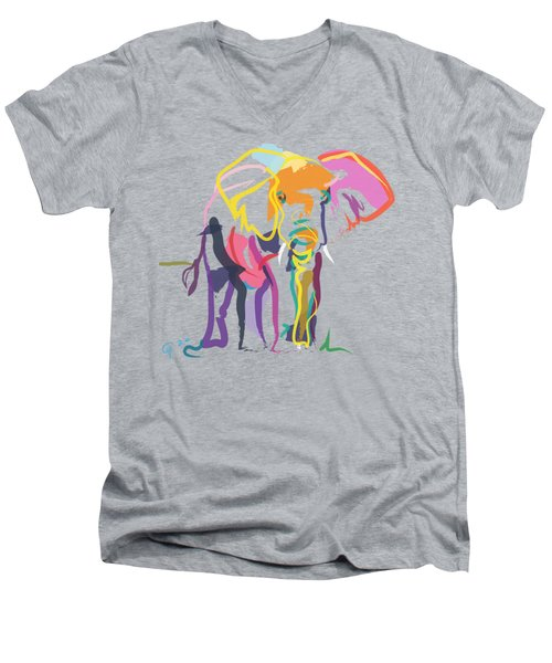 Elephant In Color Ecru Men's V-Neck T-Shirt