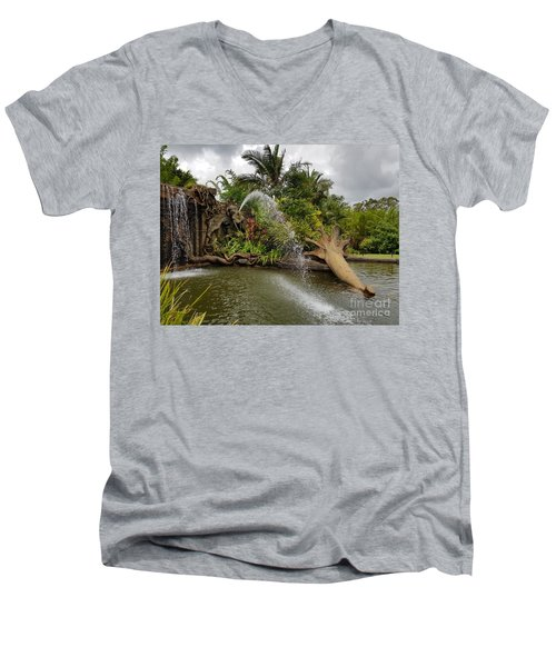 Elephant Waterfall Men's V-Neck T-Shirt