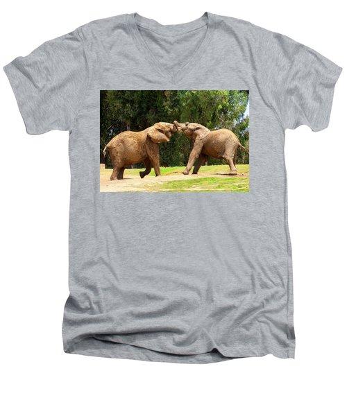 Elephants At Play 2 Men's V-Neck T-Shirt