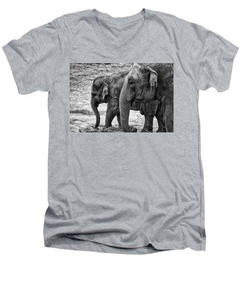 Elephants Bw Men's V-Neck T-Shirt
