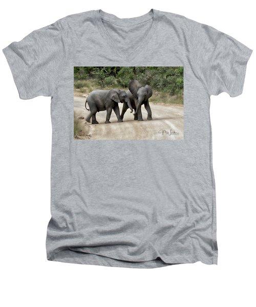 Elephants Childs Play Men's V-Neck T-Shirt