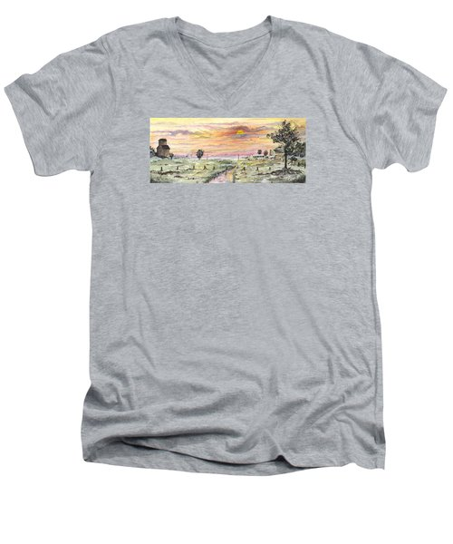 Men's V-Neck T-Shirt featuring the digital art Elevator In The Sunset by Darren Cannell