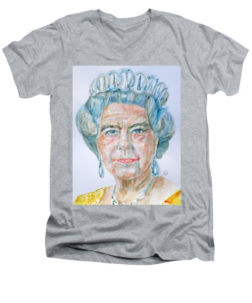 Men's V-Neck T-Shirt featuring the painting Elizabeth II - Watercolor Portrait.2 by Fabrizio Cassetta