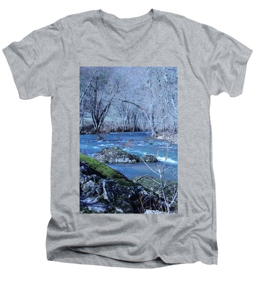 Men's V-Neck T-Shirt featuring the photograph Elk Creek Wonderland by Marie Neder