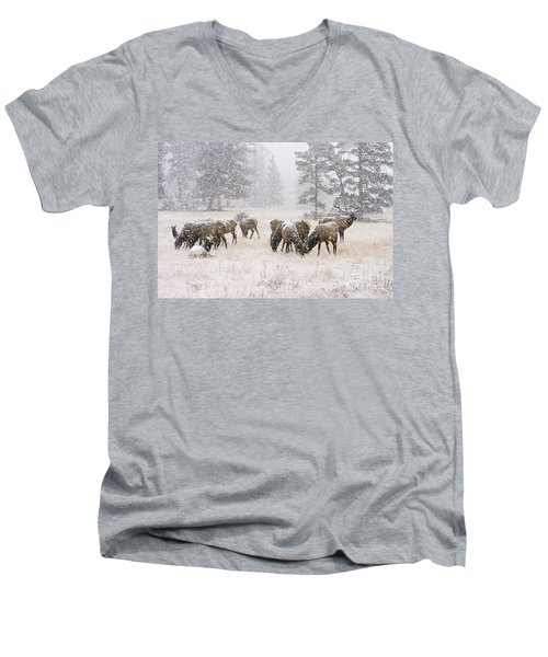 Elk In A Snow Storm - 1135 Men's V-Neck T-Shirt