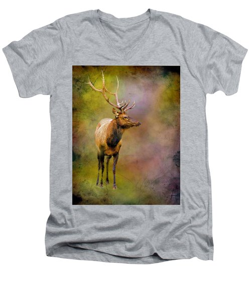 Elk In The Rockies Men's V-Neck T-Shirt