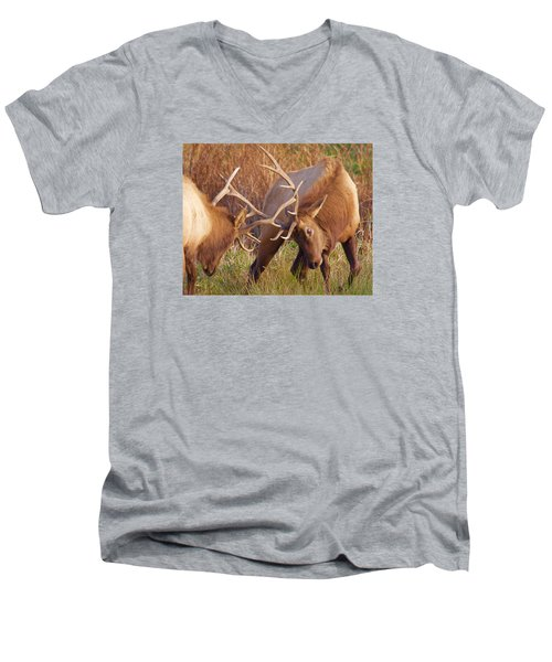 Men's V-Neck T-Shirt featuring the photograph Elk Tussle by Todd Kreuter