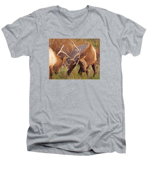 Elk Tussle Men's V-Neck T-Shirt by Todd Kreuter