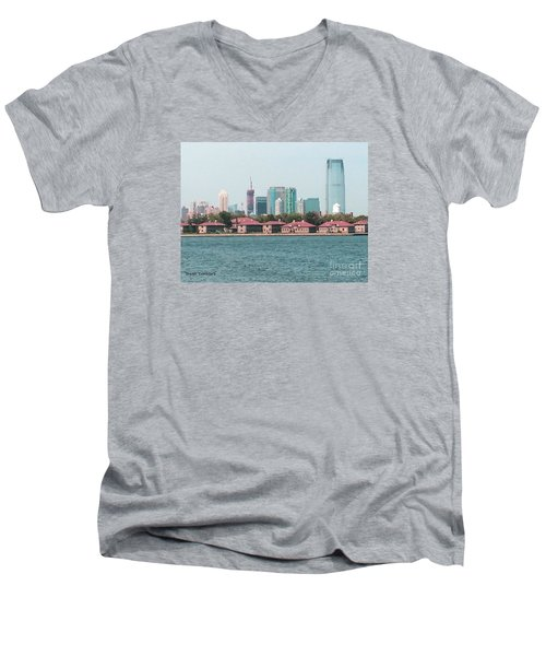 Men's V-Neck T-Shirt featuring the painting Ellis Island And Nyc by Denise Tomasura