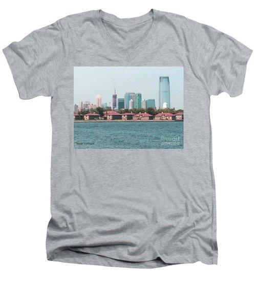 Ellis Island And Nyc Men's V-Neck T-Shirt