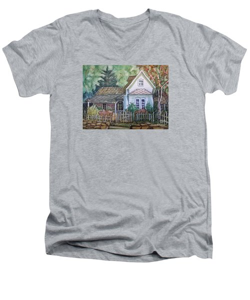 Men's V-Neck T-Shirt featuring the painting Elma's Home by Gretchen Allen