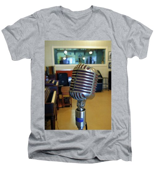 Men's V-Neck T-Shirt featuring the photograph Elvis Presley Microphone by Mark Czerniec