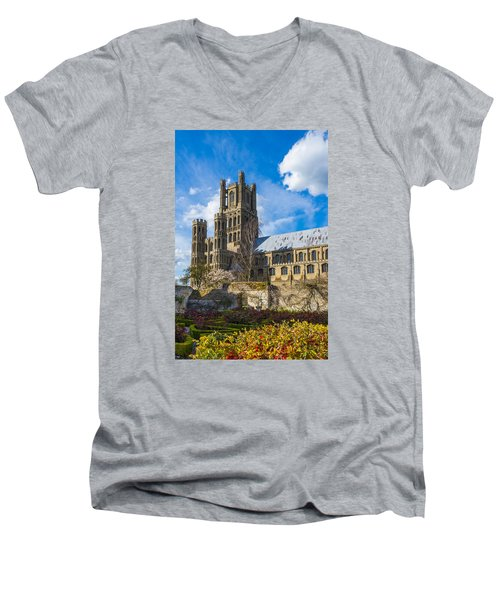 Ely Cathedral And Garden Men's V-Neck T-Shirt
