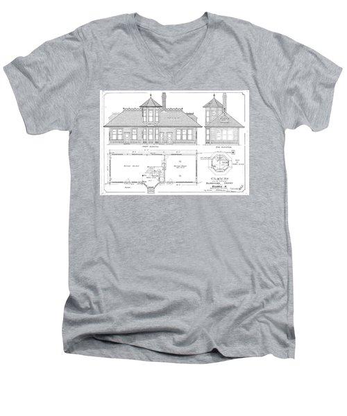 Elyria, Oh Station Men's V-Neck T-Shirt