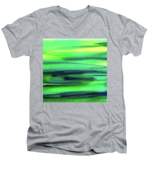 Emerald Flow Abstract Painting Men's V-Neck T-Shirt by Irina Sztukowski
