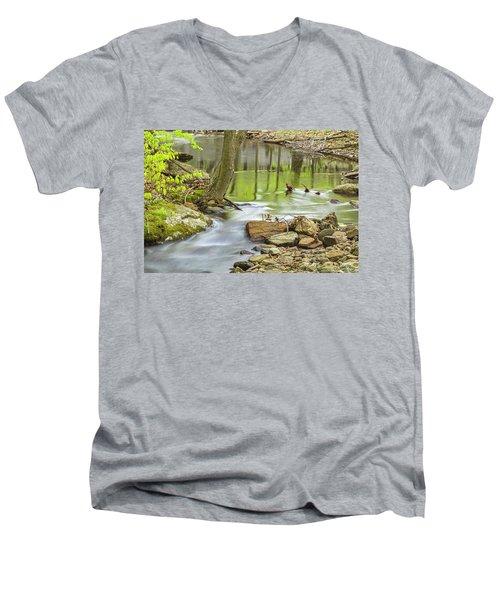 Emerald Liquid Glass Men's V-Neck T-Shirt by Angelo Marcialis