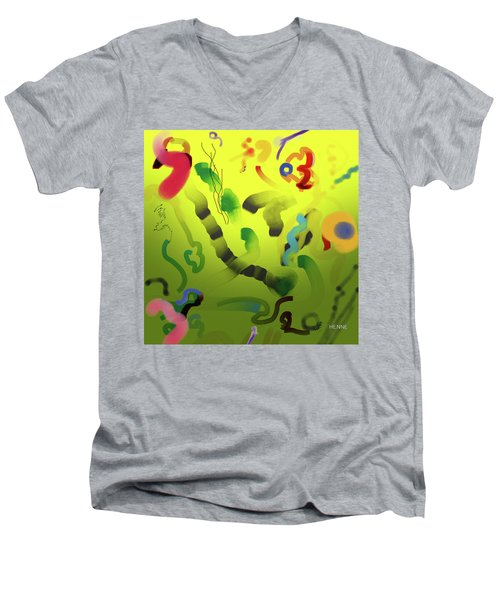 Men's V-Neck T-Shirt featuring the painting Emergence by Robert Henne