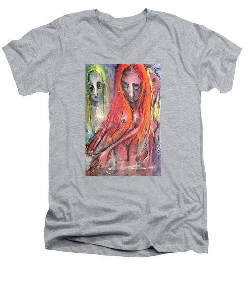 Men's V-Neck T-Shirt featuring the painting Emerging Reminders In Swamp Vapor by Kenneth Agnello