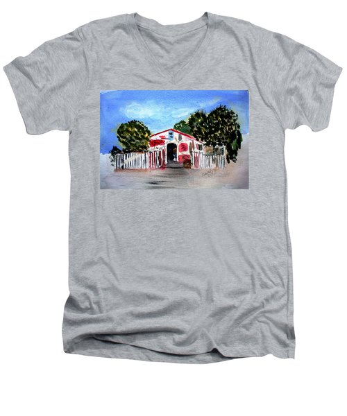 Men's V-Neck T-Shirt featuring the painting Emiles Road Side Grocer by Donna Walsh