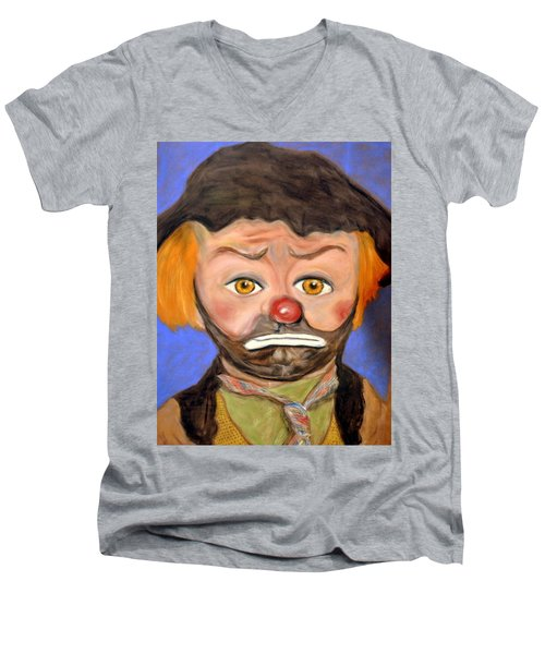 The Clown  Men's V-Neck T-Shirt by Antonia Citrino