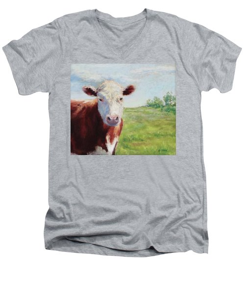Men's V-Neck T-Shirt featuring the painting Emmett by Vikki Bouffard