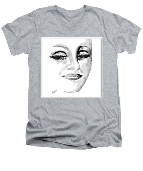 Men's V-Neck T-Shirt featuring the drawing Empathy by Desline Vitto