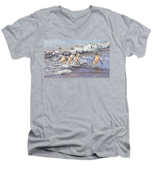 Emperor Penguins Men's V-Neck T-Shirt