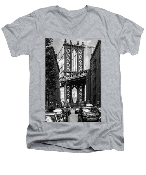 Empire State Building Framed By Manhattan Bridge Men's V-Neck T-Shirt