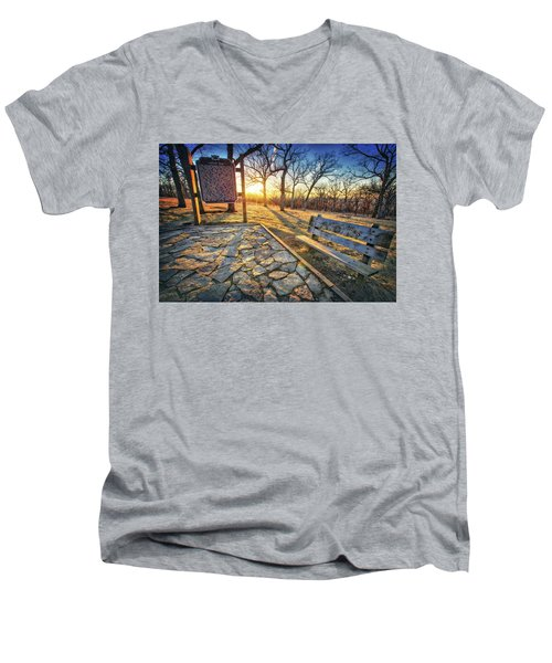 Men's V-Neck T-Shirt featuring the photograph Empty Park Bench - Sunset At Lapham Peak by Jennifer Rondinelli Reilly - Fine Art Photography