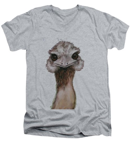 Emu Selfie Men's V-Neck T-Shirt by Kathy Carothers