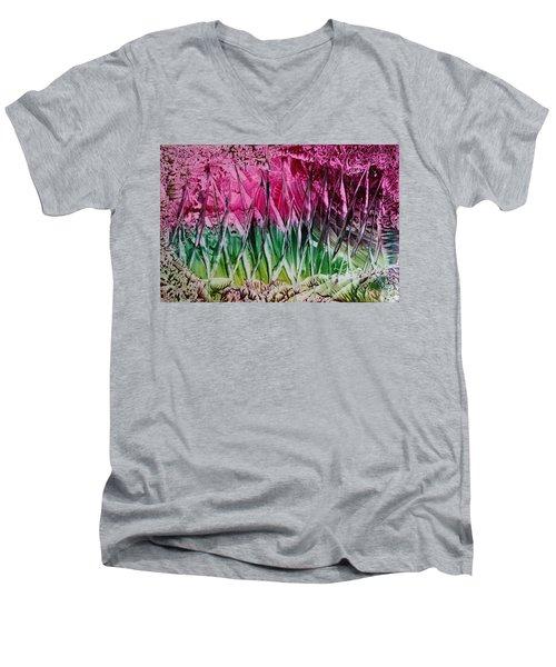 Encaustic Abstract Pinks Greens Men's V-Neck T-Shirt