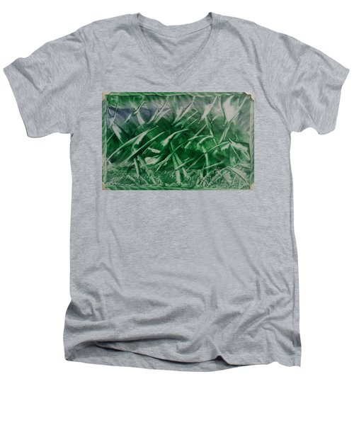 Encaustic Green Foliage With Some Blue Men's V-Neck T-Shirt