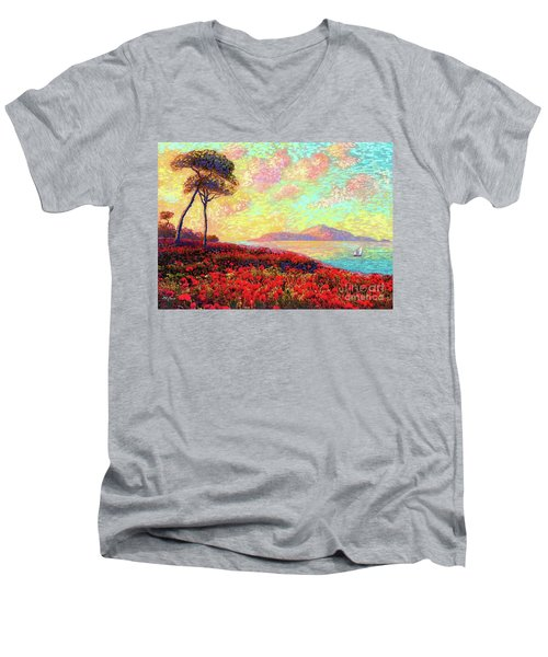 Enchanted By Poppies Men's V-Neck T-Shirt