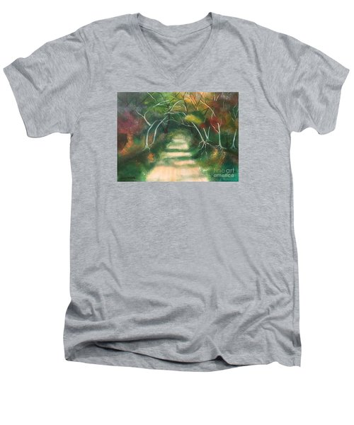 Men's V-Neck T-Shirt featuring the painting Enchanted Forest by Denise Tomasura