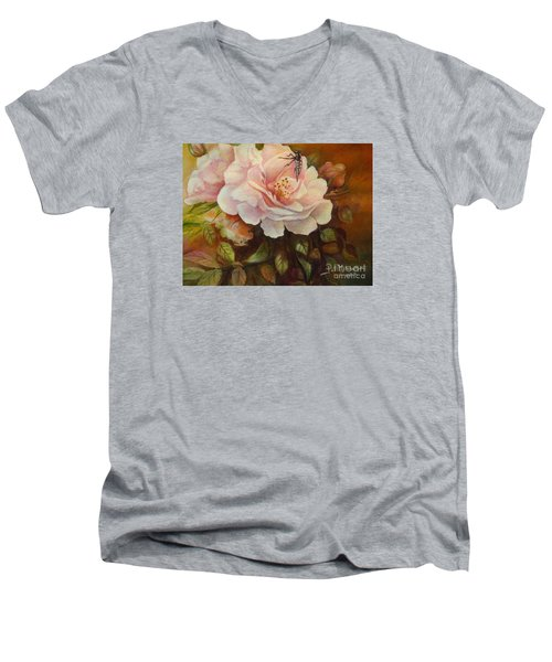 Men's V-Neck T-Shirt featuring the painting Enchanted by Patricia Schneider Mitchell